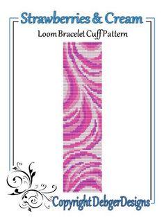 Strawberries and Cream - Loom Bracelet Cuff Pattern