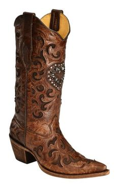 Corral Burnished Goatskin Crystal Heart Cowgirl Boots - Pointed Toe available at #Sheplers