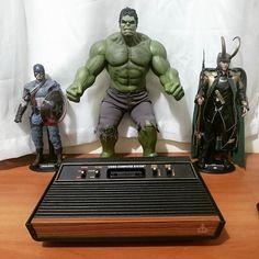 By hammersouls: Atari and his protectors!!! #atari #atari2600 #atari2600 #micrhobbit