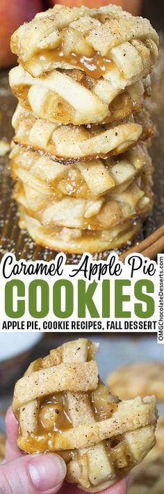 Apple Pie Cookies are one of my absolute favorite fall desserts.They are like mini apple pies but in a delicious cookie! #apple #pie #cookies Caramel Apple Pie Cookies, Apple Pie Cookie Recipe, Apple Pie Recipe Easy, Mini Caramel Apples, Cookie Pie, Apple Pie Recipes, Easy Cookie Recipes, Recipe For Mom, Meat Recipes