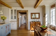 Kitchen ceiling beams, blue island - Crisp Architects