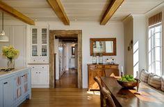 Kitchen ceiling beams, blue island - Crisp Architects