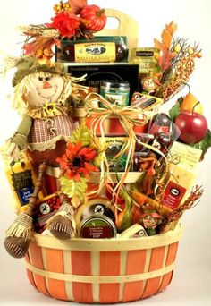 Autumn Festival Gourmet Fall Thanksgiving Gift Basket This fall gift basket is spectacular! its big; its beautifully adorned with fall Fall Gift Baskets, Creative Gift Baskets, Basket Gift, Holiday Baskets, Fundraiser Baskets, Raffle Baskets, Candy Baskets, Theme Baskets, Themed Gift Baskets