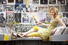 Sarah Kehoe Candy Shop : Hello Yellow | Always be on the lookout for unique places to do photoshoots. This fun portrait of a female model was taken in a record store in San Francisco. | Fashion Photography