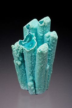 Stalactitic Chrysocolla pseudomorphs after Gypsum. From Ray mine, Pinal County, Arizona, USA