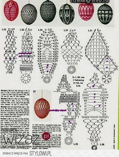 Crochet Easter Egg Cover, Set of 5 Hand Crocheted Easter Eggs Easter Decoration Hand crocheted with cotton thread with ribbon You can put inside hard boiled eg Crochet Chart, Thread Crochet, Filet Crochet, Crochet Motif, Diy Crochet, Crochet Christmas Ornaments, Holiday Crochet, Crochet Stone, Crochet Santa