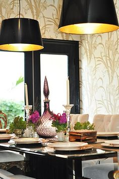 I chose a similar look for my dining room table :) Only we found a great black shade with cutouts and gold interior at IKEA. An elegant fan DIY gold interior gilded drum lamps using the IKEA KULLA pendant lamps! I Spy Diy, Sweet Home, Gold Interior, Interior Design, Gold Diy, Ikea Furniture, Custom Furniture, Ikea Hack, Dining Room