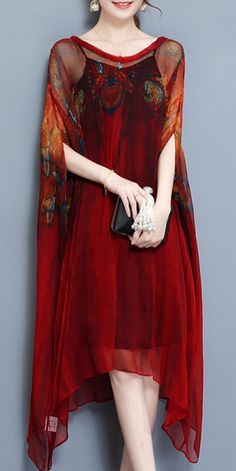 Vintage Printed Batwing Sleeve Irregular Hem Two Pieces Dresses For Women