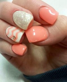 "The ""it colour"" of Spring! Peach/Coral/White Bio sculpture Gel Nails. These rock!Mirror Mirror Salon and Spa Kelowna BC #kelownaspa #gelnails #springnails #naildesign #mm"