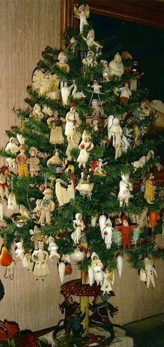 Group of spun cotton Christmas decorations.
