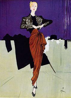 Illustration by René Gruau, 1946, Marcel Rochas, Evening Gown.