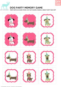 DIY Free Doggy Party Pink Memory Game - JustLoveDesign