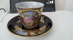 Sevres Portrait And Landscape Cabinet Cup And Saucer - Exquisite