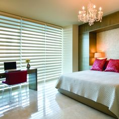 Hunter Douglas Pirouette Window Shades and Calgary Window Treatments available on display at our Showroom. Hunter Douglas Blinds, Custom Window Treatments, Shades Blinds, Window Styles, Blinds For Windows, Guest Bedrooms, Guest Room, Fabric Shades, Window Coverings