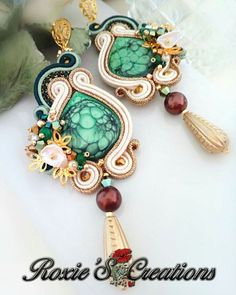 Your place to buy and sell all things handmade Handmade Wire Jewelry, Earrings Handmade, Shibori, Art Nouveau, Soutache Necklace, Green Earrings, Swarovski Pearls, Turquoise Bracelet, Etsy