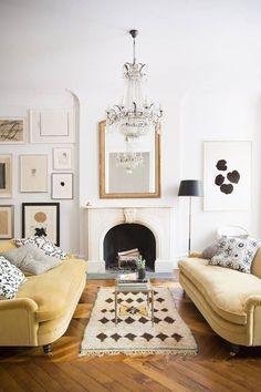 Classical Style Living Room with Herringbone Wood Floor