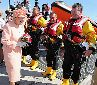 The Queen as Patron of the Royal National Lifeboat Institution opening a lifeboat station on the Isle of Wight.