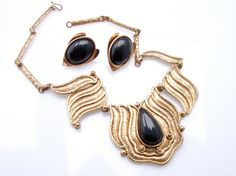 Vintage IXEL Designer Brass Necklace and Earring by vintagegemz, $25.00