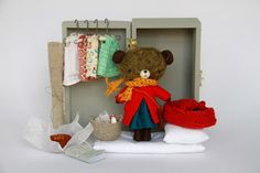 dress up bear with mini armoire