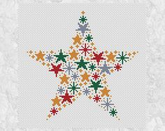 Christmas cross stitch pattern of a star made up of smaller stars in Christmas colours - red, green, silver and gold. An easy and striking stitch for Christmas. • Stitch count: 96 wide x 94 high • Approximate size on 14 count aida: 6.9in wide x 6.7in high (17.4cm wide x 17.1cm high) • 4 colours, DMC numbers given • Uses full cross stitches; no backstitch or fractional stitches • Stitch on fabric of your colour choice (image is shown on white fabric) • Suitable for all skill levels including…