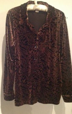 New Jennifer Moore Leopard Velvet Shirt Jacket Size L $12.99