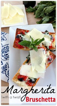 Margherita bruschetta is a fun twist on the classic flavors of Margherita pizza. The smoky tomatoes, basil, and Italian cheese are perfection with chewy, crusty bread – it's a flavor and texture explosion in your mouth! Serve as an appetizer or a quick and easy dinner!