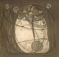 Photograph of an Embroidered Panel Executed by Frances Macdonald. Circa 1900-1910. Hunterian Art Gallery Mackintosh Collections.