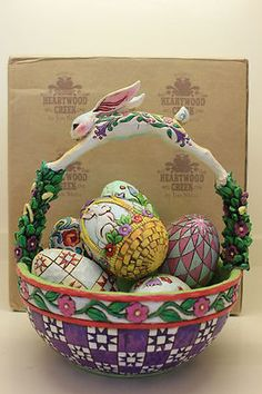 Jim Shore 2005 Springtime Surprise Easter Basket Includes 6 Eggs in Box | eBay