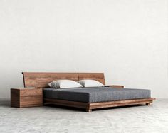 Your Bedroom can both be a sanctuary and place to relax. Read this guide for contemporary Bedroom set ideas. Master Bedroom Interior, Bedroom Bed Design, Modern Bedroom Furniture, Home Bedroom, Platform Bed Designs, Modern Platform Bed, Low Platform Bed, Wood Bed Design, Bed Frame Design