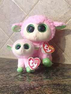 """Ty Beanie Boo 6"""" BABS the Pink Lamb and Matching BABS Beanie Basket - NWT"""