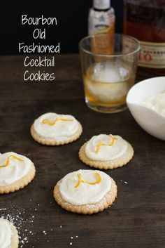 Bourbon Old Fashioned Cocktail Cookies - PERFECT FOR A MAD MEN FINALE PARTY! All the flavors of an Old Fashioned cocktail in a cookie. Sugar cookies flavored with orange zest, topped with bourbon cream cheese frosting! | foxeslovelemons.com