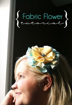 This is another example of folded fabric flower tutorials. I love how this one has more dimension than the other ones I have made. This is super easy and fun.