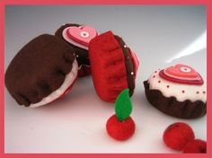 Cherry Chocolate Cupcakes - 2 pieces - Waldorf Inspired Felt Play Food - Ready to Ship. $16.00, via Etsy.