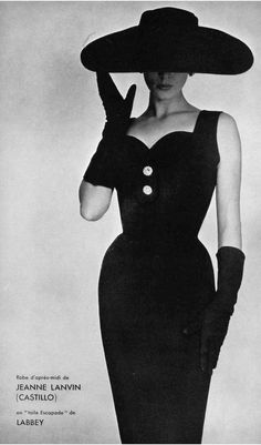 1954 Model in black toile afternoon dress by Lanvin-Castillo