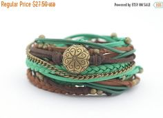 CYBER MONDAY SALE Emerald Chocolate Brown Wrap by cardioceras