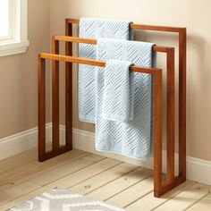 "35"" Layla Teak Towel Hanger with 3 Levels"