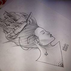 Girl, ship, tattoo,  tatuaggio, original, idea, originale, ideas, tattoo, draw, sketch, disegno, by Edwin Basha