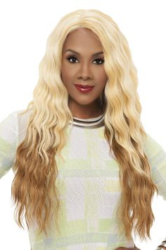 """Vivica A Fox's Natural """"Baby Hair"""" Lace Front wig, Yucera is a very long lace wig (27 Inches) with layered Brazilian loose body waves all the way down. An L shaped Parting and natural baby hairs embed"""