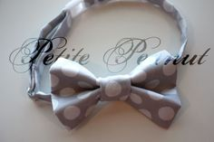 Little Guy SPRING EASTER Bow tie - GRAY Polka Dot - (Newborn - 10 years) - Baby Boy Toddler - Custom Order - Wedding - Photo Prop. $16.50, via Etsy.