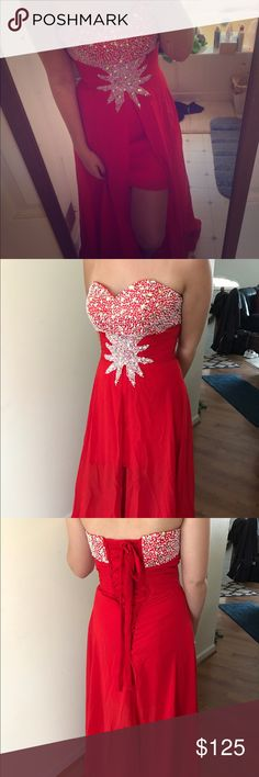 Gorgeous corset style prom dress ❤ worn once! This corset style dress is simply stunning. It is a size four but flexible considering the lace up corset in the back. The dress splits down the middle and flows perfectly when walking. Perfect for prom, modeling, and making a statement! Dresses Strapless
