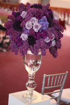 """""""Wedding Ceremony Flowers in shades of purple"""" - really like this purple bouquet. One of my favorite colors, beautifully done! Purple Wedding Centerpieces, Purple Wedding Flowers, Floral Centerpieces, Floral Wedding, Floral Arrangements, Wedding Decorations, Purple Roses, Flower Arrangement, Deep Purple"""