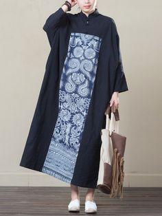 38ddfd684af US 36.7 - Vintage Printed Patchwork Stand Collar Maxi Dress Black And White  Plus Size Dresses