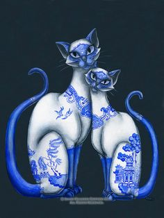 85 x 11 Print of Siamese Cats with Blue Willow Pattern by redrevvy, $12.99