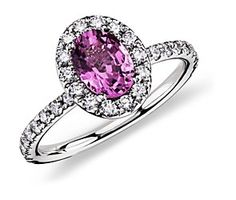 Pink Sapphire and Diamond Ring in 18k White Gold #BlueNile