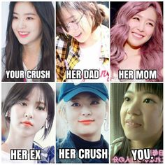 can i marry her crush Kpop Girl Groups, Kpop Girls, Funny Text Memes, Photo Recreation, Crush Memes, Seulgi, Beautiful Asian Girls, Funny Faces, Red Velvet