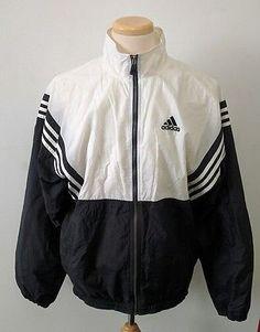 Vintage 90's Adidas Windbreaker Classic Jacket L Black White Retro Mens Track