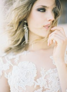 Looking afar.... in Morocco! Styling and Creative Direction : Pearl & Godiva  |  Photographer : Jen Huang JenHuangPhoto.com  |  Make Up Artist : Lora Kelley  |  Hair stylist : Lora Kelley  |  Bespoke lace embroidered tulle gown : Emily Riggs Bridal  |  Earrings and Necklace : Kristin Hayes