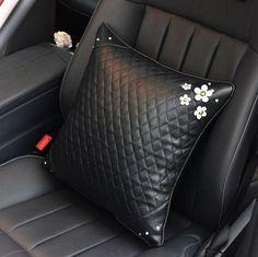 Vegan Leather Bone Shaped Car Cushion Headrest Pillow with Daisy