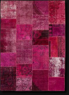 Vintage over-dyed wool collage rug handwoven in Turkey