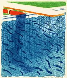 Bid now on Pool Made with Paper and Blue Ink for Book by David Hockney. View a wide Variety of artworks by David Hockney, now available for sale on artnet Auctions. David Hockney Pool, David Hockney Prints, David Hockney Artist, David Hockney Landscapes, Pop Art Movement, Moving To Los Angeles, Illustrations, Photo Art, Swimming Pools